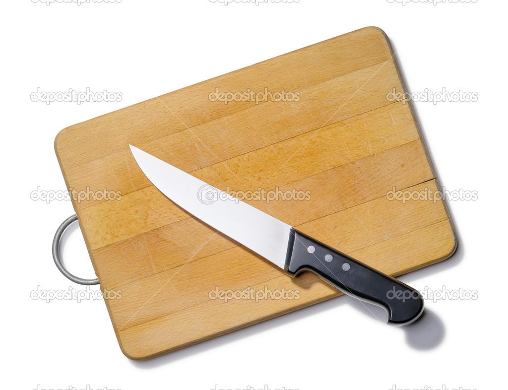 tabla de cortar de madera con cuchillo de cocina — Foto de stock ...