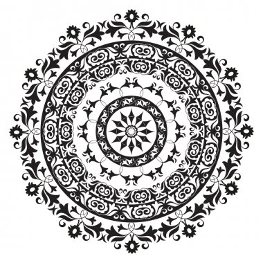 Oriental ornament in black and white circular stock vector