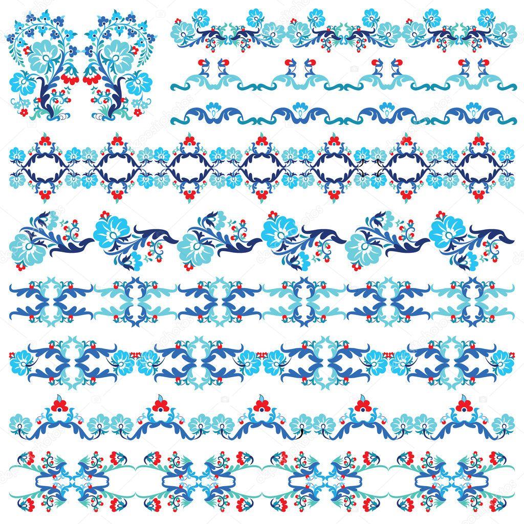 Blue oriental border and ornament ten