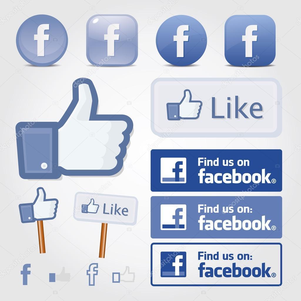 Facebook social set icon button like symbol
