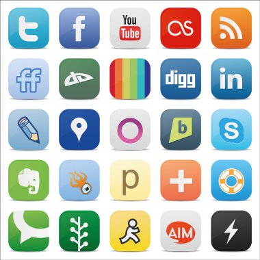 Social media square buttons