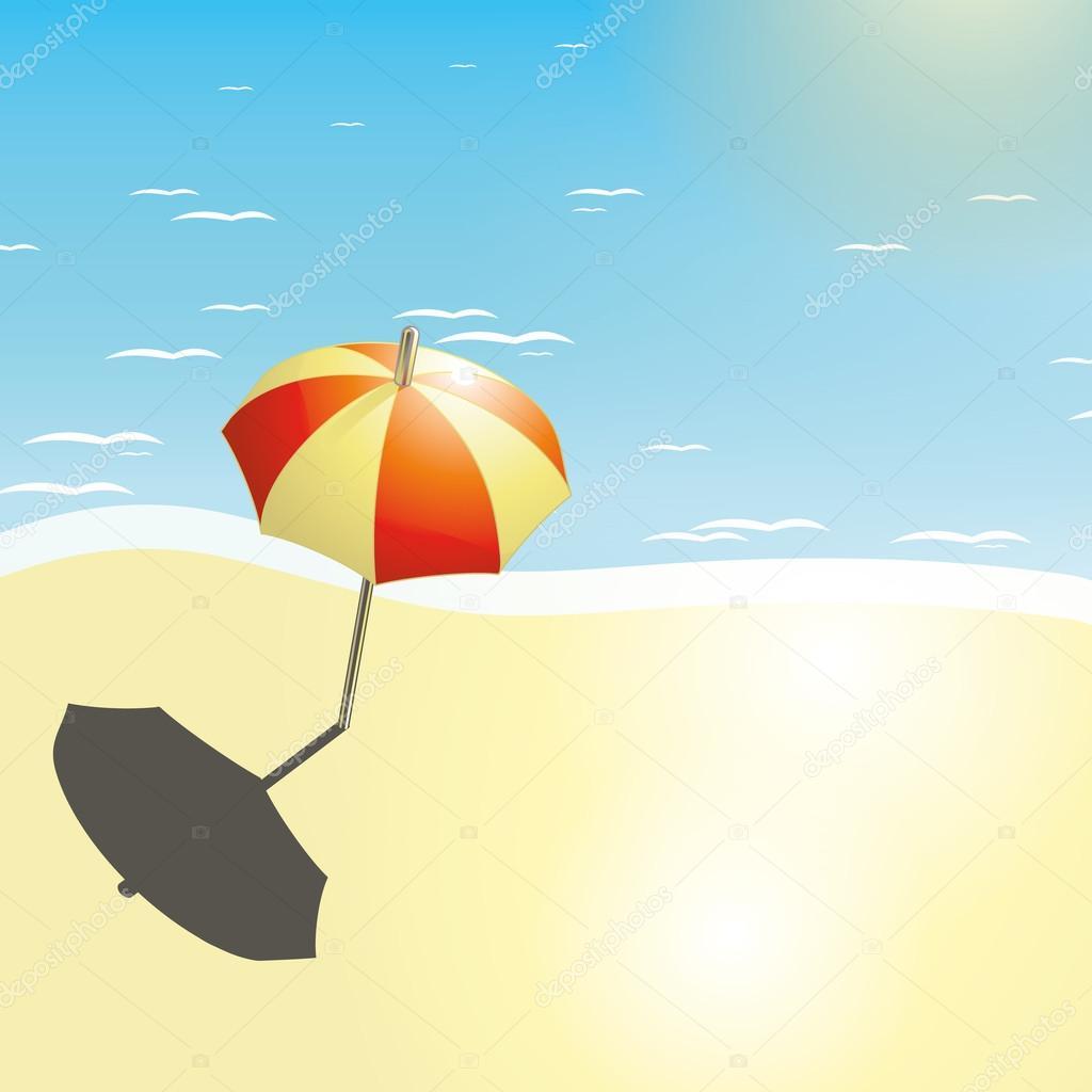Disegni Di Spiaggia E Ombrelloni.Spiaggia E Ombrellone In Un Disegno Di Estate Vettoriali Stock