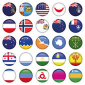 Photo Antarctic and Russian Flags Round Buttons