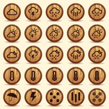 Wood Weather Icons in Brown Background, includes high resolution image, Illustrator CS and EPS10. Vector with transparency. clip art vector