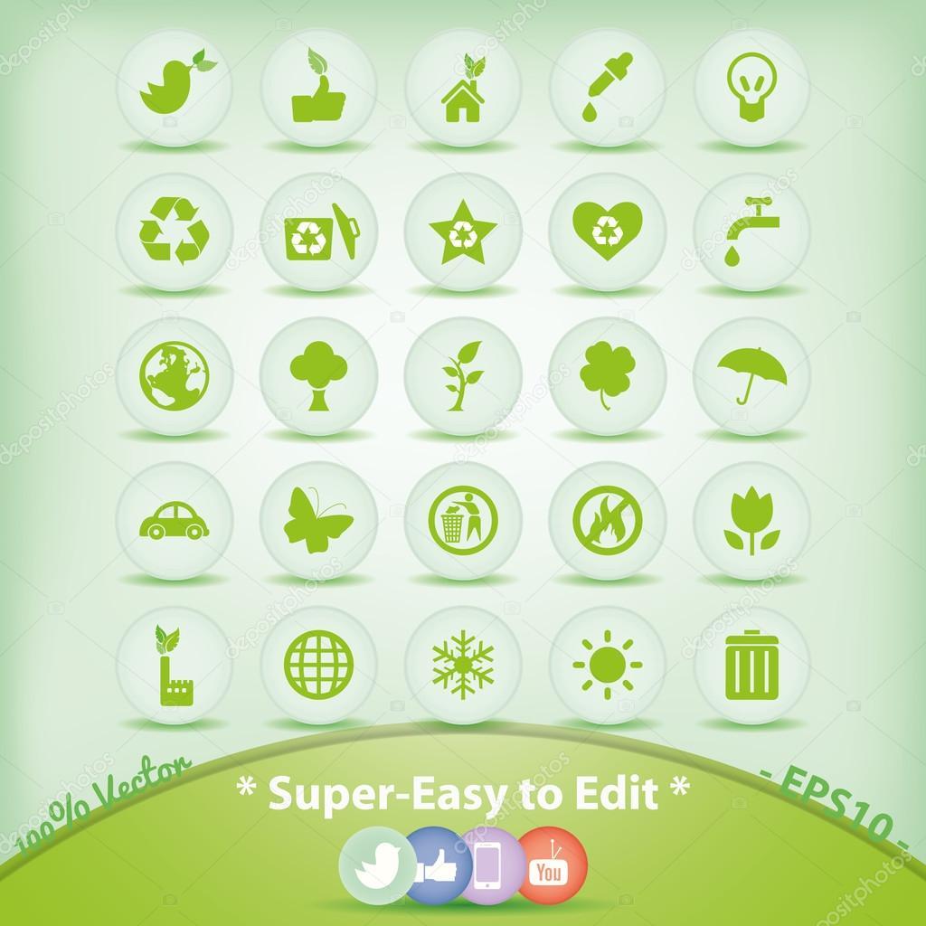 Ecology Icons Set Green Environment Symbols Stock Vector