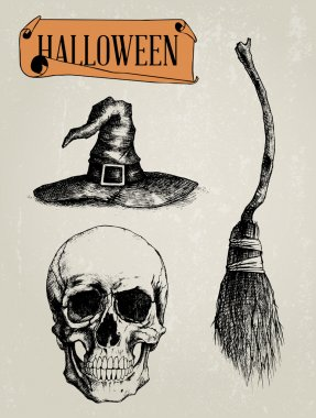 Hand Drawn Halloween Shapes Set - Skull, Witch Hat,Witch Broom