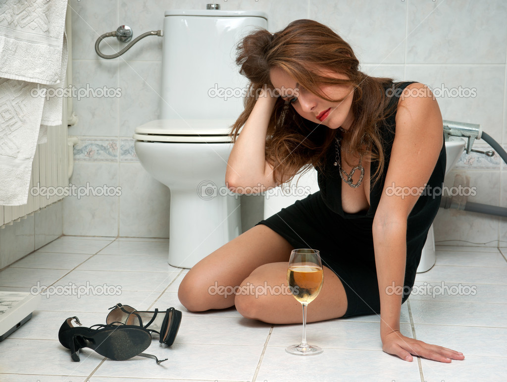 Drunk woman in her bathroom stock photo bertys30 22306475 for Bathroom photos of ladies