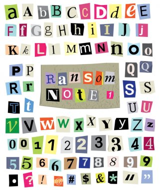 Ransom Note No. 1- Cut Paper Letters, Numbers, Symbols