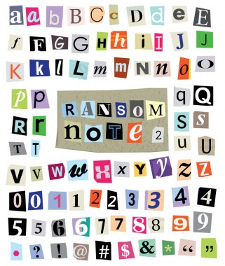 Ransom Note No. 2- Cut Paper Letters, Numbers, Symbols