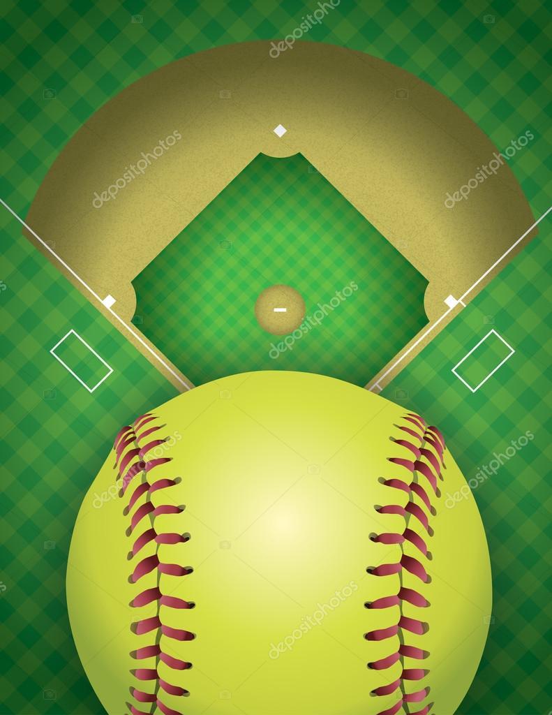 ソフトボール場とボールの背景イラスト ストックベクター