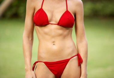 Body section of a woman wearing a red bikini in a green grass garden