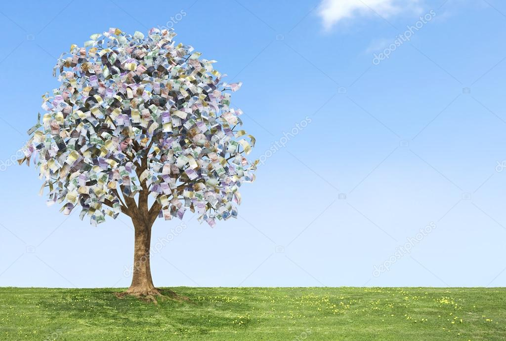 Euro money tree growing on green land with a blue sky.