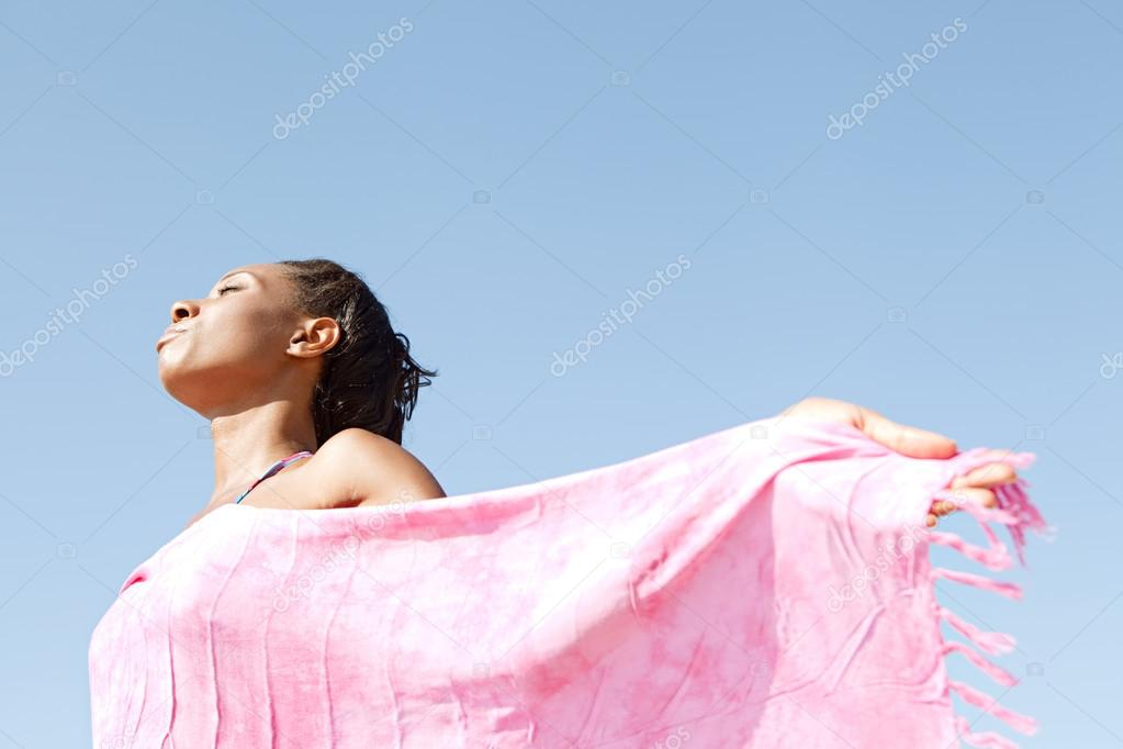 Woman holding  bright pink