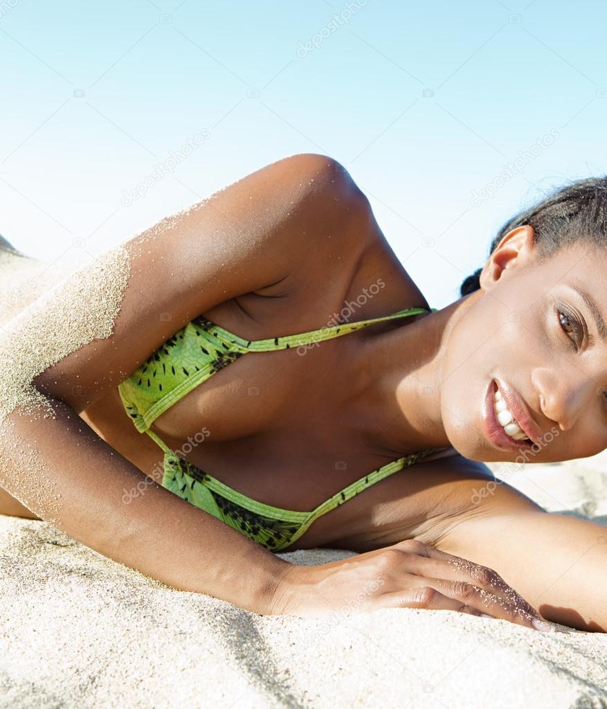 Black woman on beach