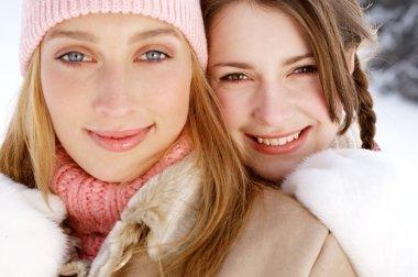 Girls friends  in winter
