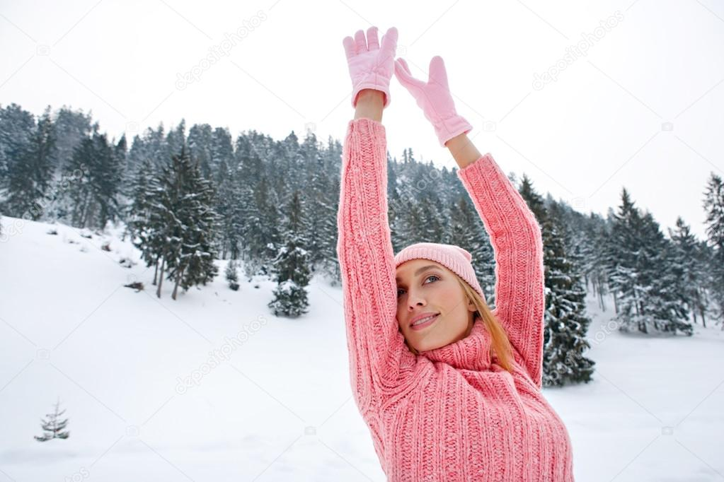 Woman  in the snowed mountains