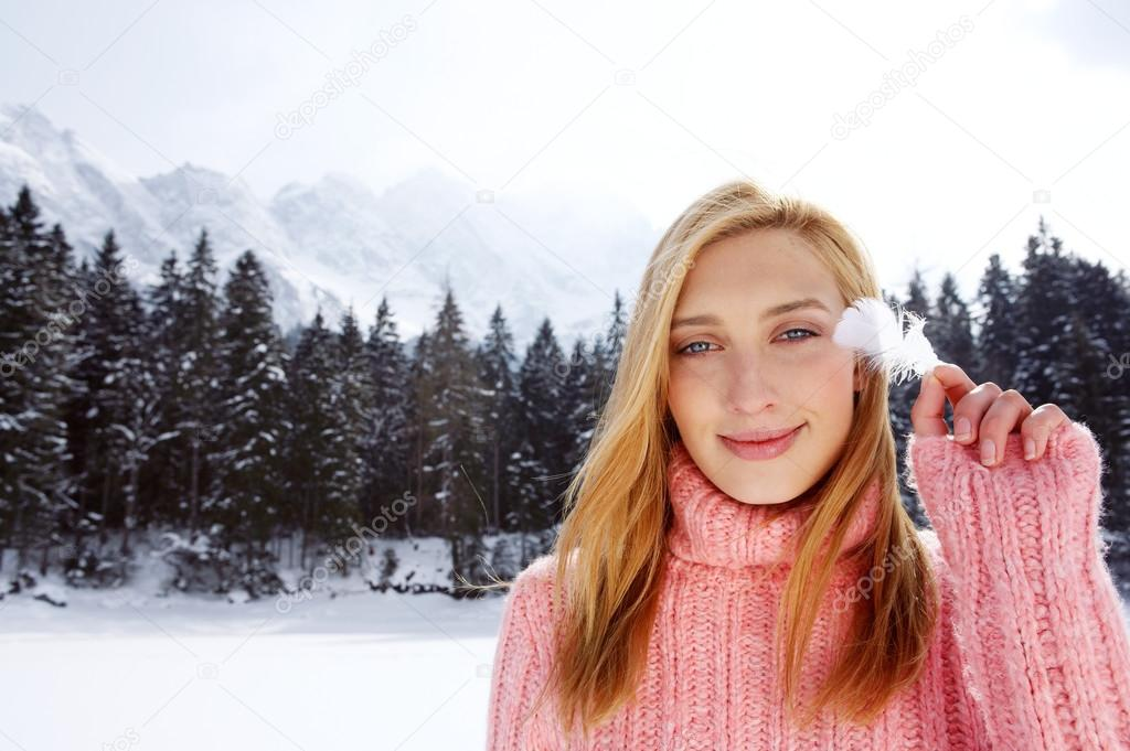 Woman in the snow mountains