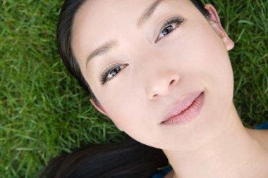 Japanese woman laying