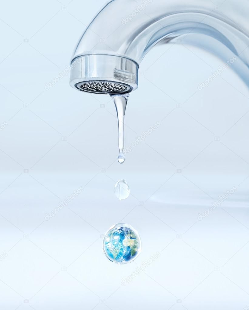 Earth inside a drop of water