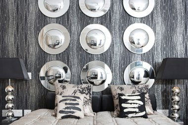"""Картина, постер, плакат, фотообои """"дизайнерская спальня зеркало раме зеркала настенное круглые напольное"""", артикул 48297937"""