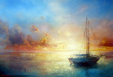Seascape painting by Yakymenko Sergiy. Marine painting stock vector