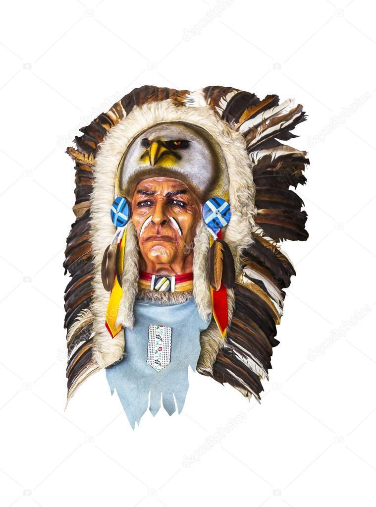 Wood Carved Indian Chief Head On White Stock Photo