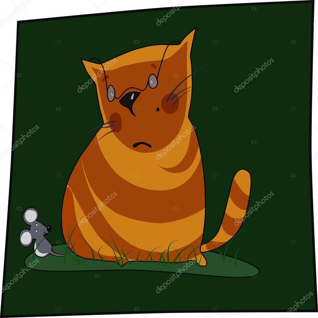 Gatos Cazando Ratones Para Colorear Gato Y Ratón Vector Vector