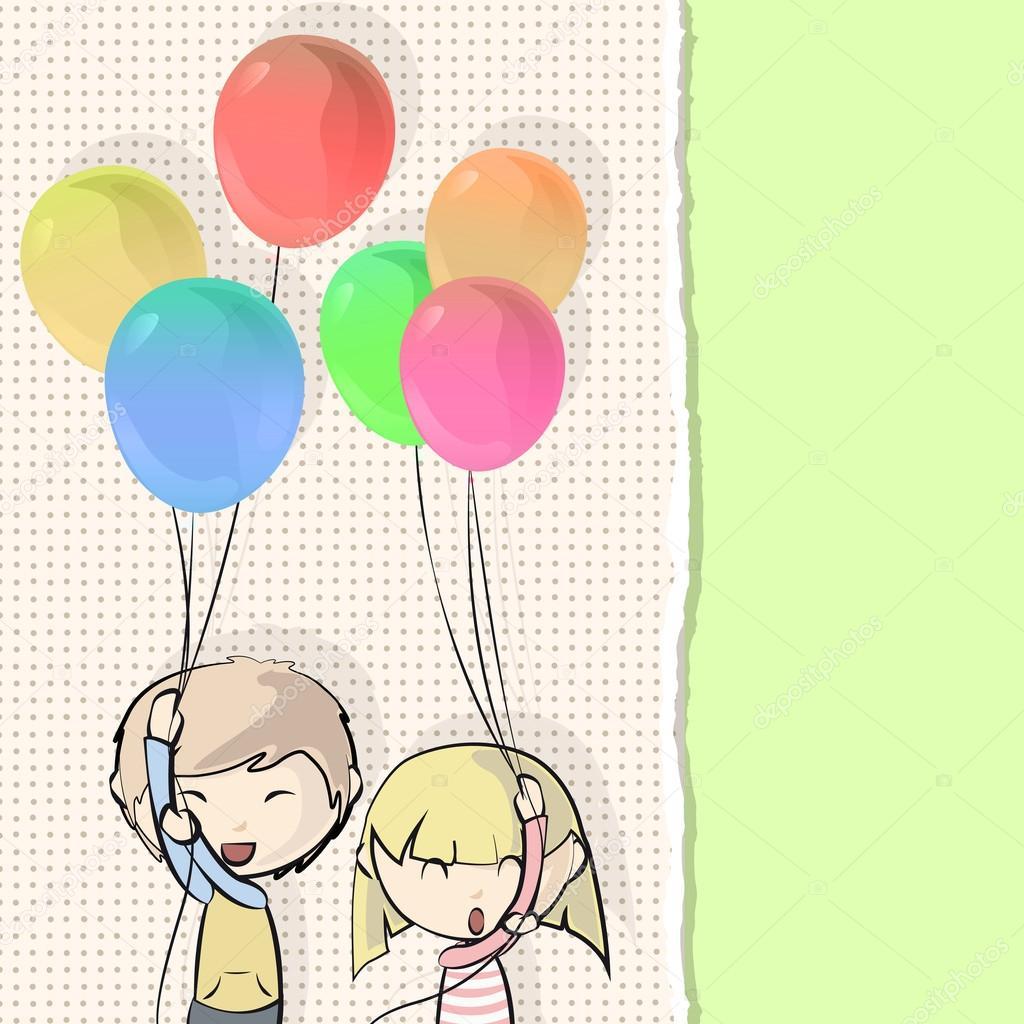Foto Disegno Di Bambini Con Palloncini Coppia Di Bambini Che