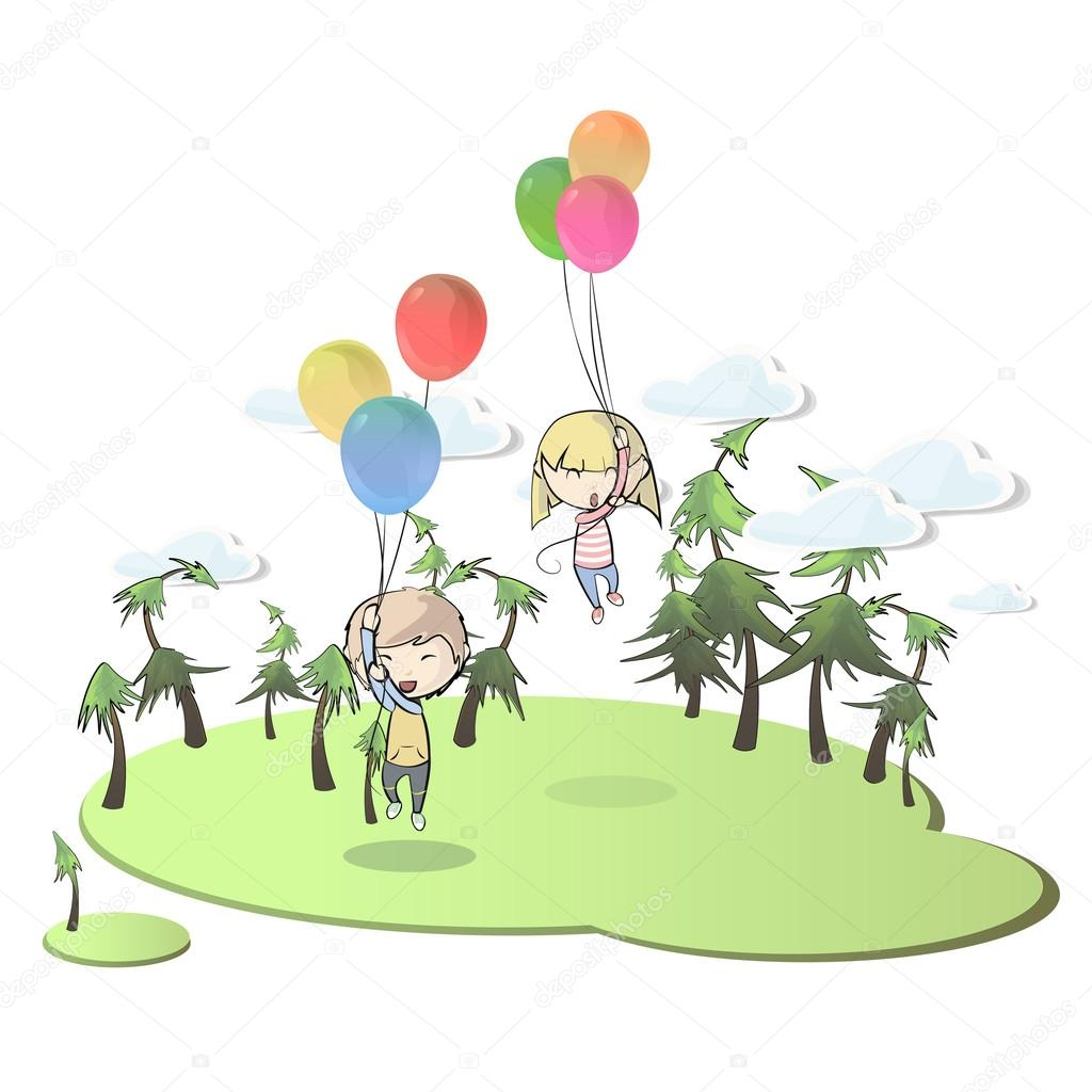 Kids with balloons in beautiful landscape. Vector design.