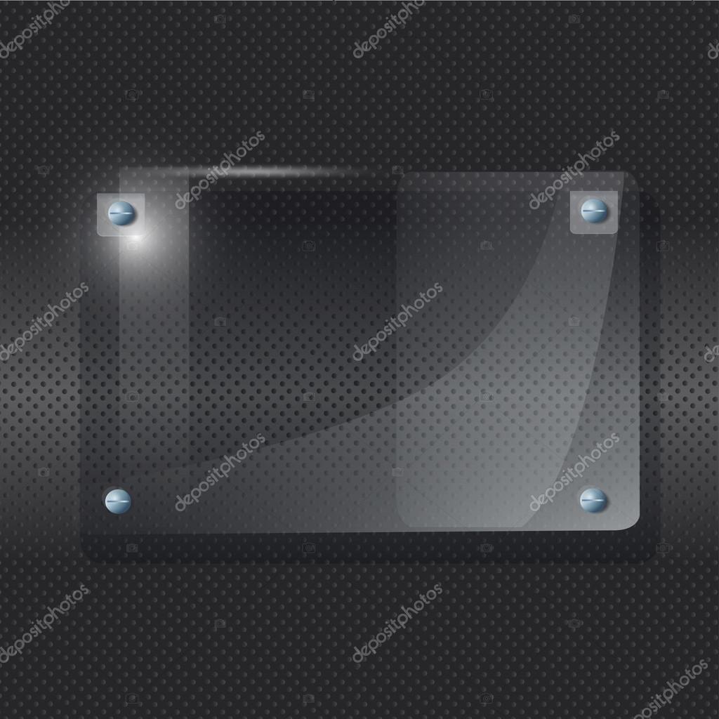 transparenten Rahmen Plexiglas auf schwarzem Hintergrund. Vektor ...