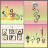 Fotografia design sfondo del grande gruppo di amici giocando con frutta, televisori, pastelli e visita al Museo. immagini della collezione di illustrazione vettoriale