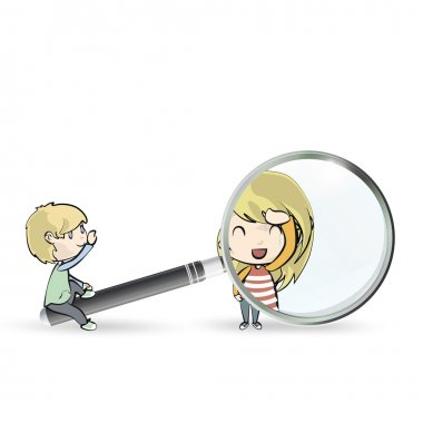 Kids playing with magnifying glass. Vector design.