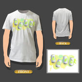 Ecologic can printed on white shirt. Vector design.