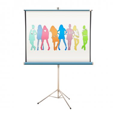 Colorful silhouette models in projector screen. Vector design.