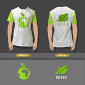 Shirt design with an ecologics icons. Realistic vector design.