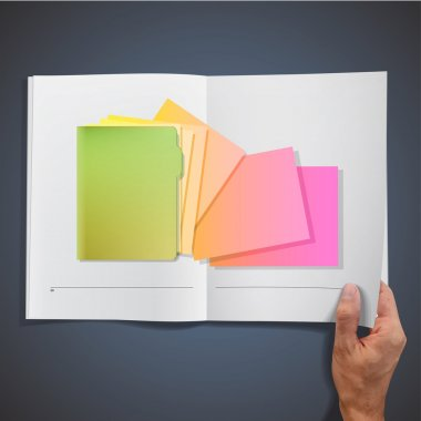 Green folder with colorful papers inside a book. Vector design.