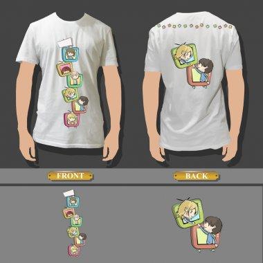Shirt design with fanny kids on TV inside. Realistic vector illustration.