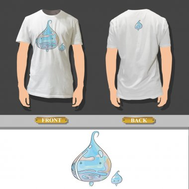 Water drop printed on a shirt. Vector design.