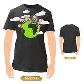Kids around the world printed on black shirt. Vector design.