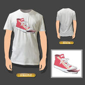 Fashion pink shoe printed on white shirt. Vector design.
