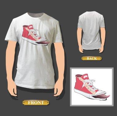 Fashion pink shoe printed on white shirt. Vector design.