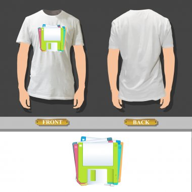 Colorful diskettes printed on white shirt. Vector design.
