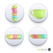 kolekce barevné Cup na kód pin.