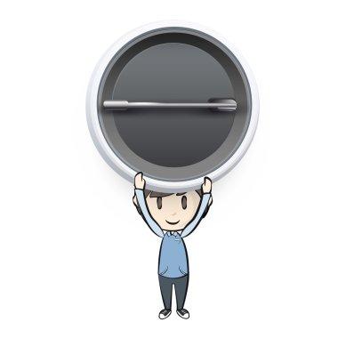 Kid holding pin on white background. Vector design.