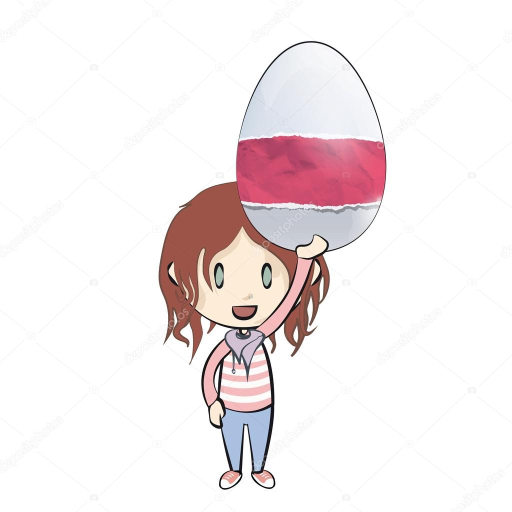 Ragazza Che Con Un Uovo Di Pasqua Con Simpatici Disegni Disegno