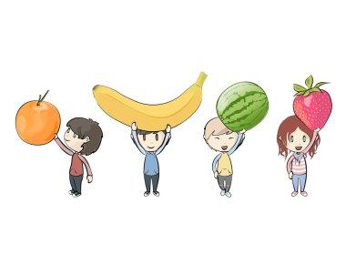 Kids holding fruits. Vector design