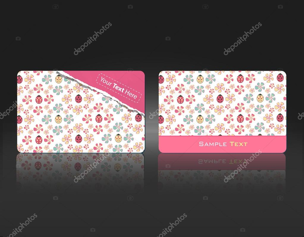 Business Card with flowers and ladybugs. Vector design. — Stock ...