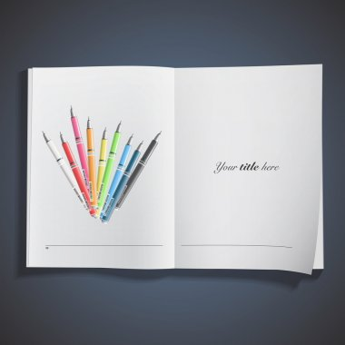 Collection of colorful pens printed on book. Vector design