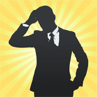 Silhouette of business man thinking isolated. Vector design.