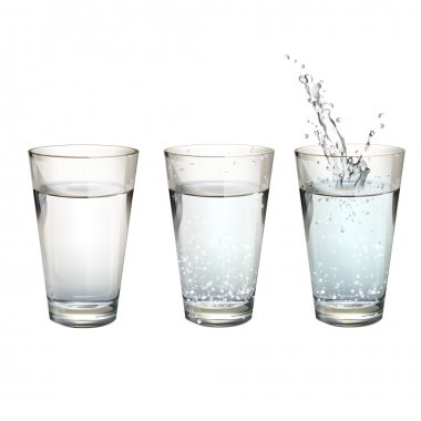 Set of realistic water glasses with different actions. Vector design